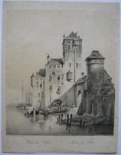 Partie am Rhein Hafen Boote Orig Lithografie J. Vermersch 1850 Münchener Album
