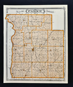 1876 Indiana Map Terre Haute Parke County Rockville Coloma