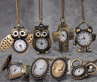 Retro Bronze Owl Wing Poker Steampunk Pocket Watch Quartz Necklace Pendant Gift