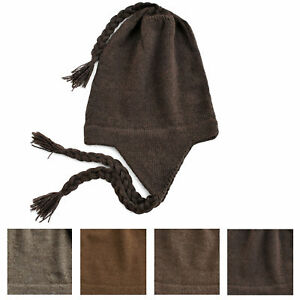 cd4d543f7ea 100% Alpaca Wool Chullo Earflap Hat Women Men Accessory One Size ...