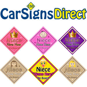Non Personalised Child//Baby On Board Car Sign ~ Niece On Board ~ Pink