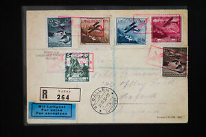 Liechtenstein-6-Stamp-Registered-Airmail-Cover-Scarce