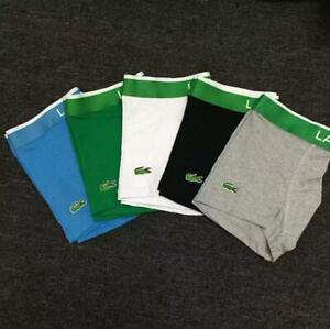 Mens-Crocodile-Logo-Waist-Cotton-Boxer-Briefs-Shorts-Bulge-Pouch-Underpants