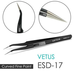 VETUS-ESD-17-Straight-Precise-Anti-Static-Fine-Point-Tweezers-Eyelash-Extension