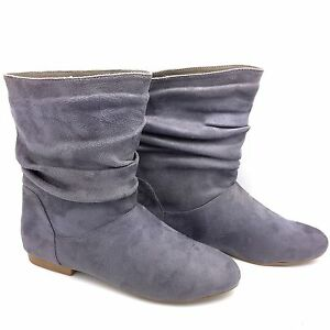 womens grey flat suede pullon ankle boots chelsea