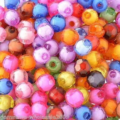 "Wholesale W09 Mixed AB Color Faceted Round Acrylic Spacer Beads 8mm 3//8/"" Dia"