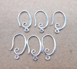 10PCS Jewelry Making Findings DIY 925 Silver Earring Smooth Hook Ear Wires
