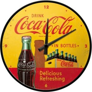 Coca-Cola-in-Bottles-Nostalgie-Wanduhr-Glas-31-cm-Wall-Clock-Neu
