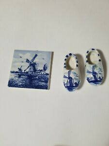 Delft-Blue-Hand-Painted-Made-In-Holland-Shoes-With-Magnet-And-Small-Tile