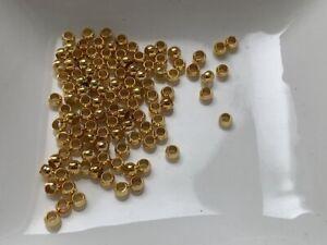 10 Quetschperlen 3 mm goldfarben Endperlen Crimps Schmuck Basteln gold *