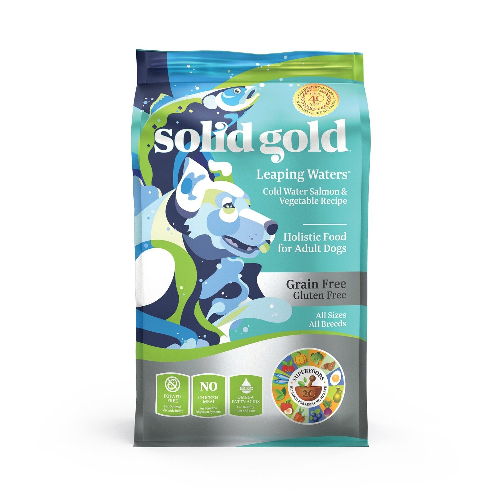 Solid gold Leaping Waters Holistic Dry Dog Food, Cold Water Salmon  Vegetables,