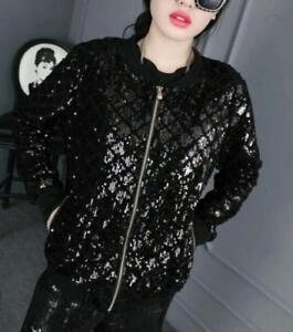 Plus Shiny Sbox Baseball Sequine Coat Size Girls Sweat Jacket Loose Party Kvinders 45zx6Rqx