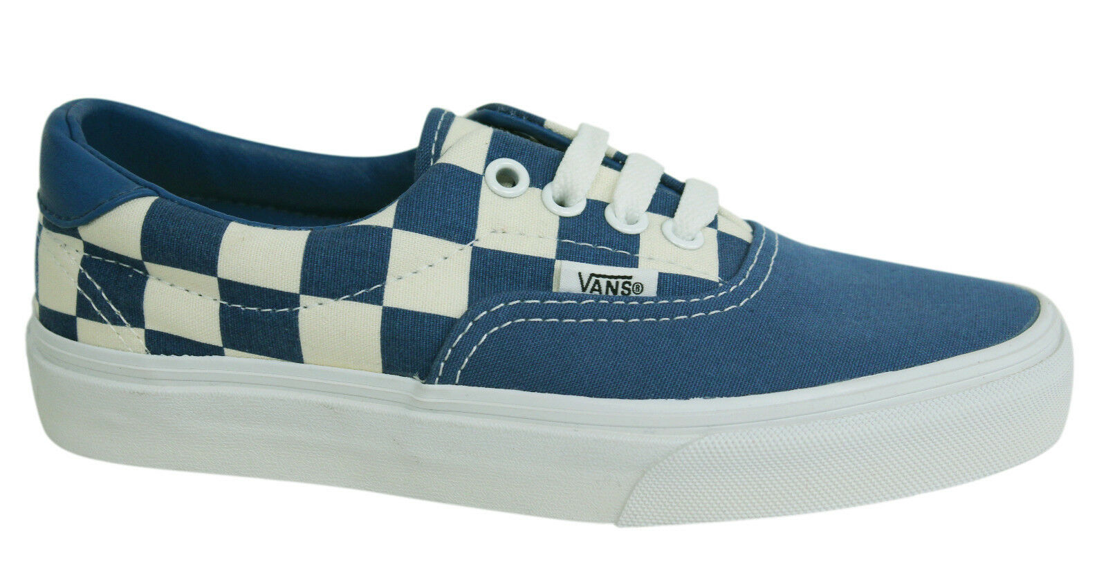 b8c0f06a15 Vans Off The Wall Era Checkerboard Lace Up Blue Unisex Plimsolls ZMSFBS