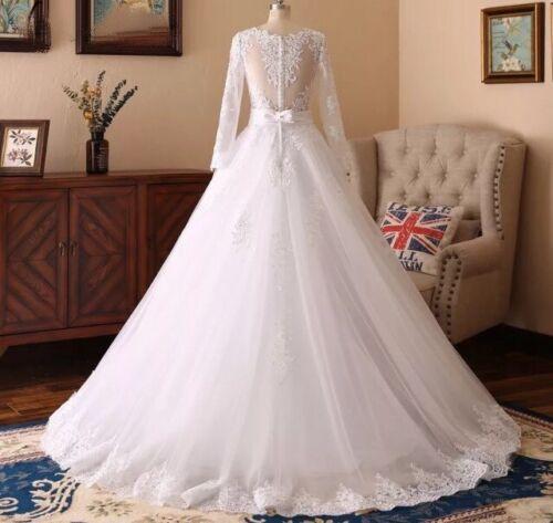 UK Plus Size Detachable White//ivory Long Sleeve Lace Wedding Dresses Size 6-22