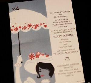 Mary Poppins Grauman's Chinese Theater Premiere Invitation 1964 2003 Walt Disney