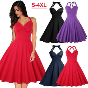 Women-039-s-Sleeveless-Rockabilly-50s-Vintage-Cocktail-Swing-Dresses-Party-Cocktail