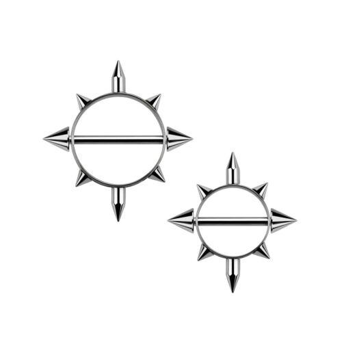 Viele Spitzen 1,6 mm Ø Nippelschild Stab Brust Piercing Intim Silberfarben