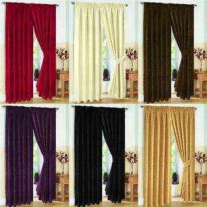 Pair-of-Fully-Lined-JACQUARD-SWIRL-DESIGN-Pencil-Pleat-Curtains-Tiebacks