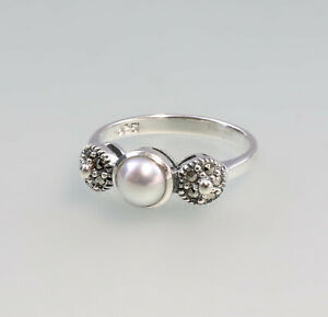 9927126 925er Silber Perlen-Markasit-Ring Gr.56