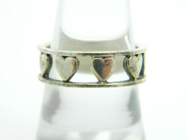 Sterling Silver .925 Heart Openwork Band Ring Size 7.75 Vintage