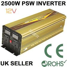 2500W Continuous 5000W Surge PURE SINE WAVE DC12V POWER INVERTER DIGITAL DISPLAY