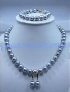 9-10mm-South-Sea-Grey-Natural-Pearl-Set-Necklace-Earrings-Bracelet-14k