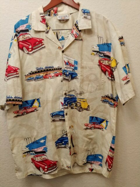 6f99b437 Men's 2XL Pacific Legend American Graffiti Mels Drive-In Hot Rod Hawaiian  Shirt