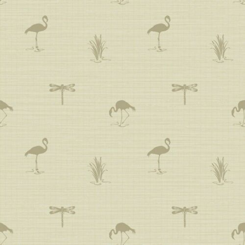Arthouse Lochs et lagunes Lakeside Insecte Flamingo Papier Peint Taupe 256502