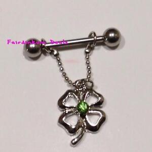 fef3611c9 Image is loading Green-Jewelled-4-Leaf-Clover-Nipple-Dangle-Shield-