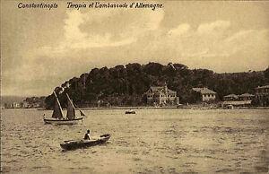 Constantinople-Istanbul-Tuerkei-AK-1910-Terapia-et-L-039-ambassade-d-039-Allemagne-Boote