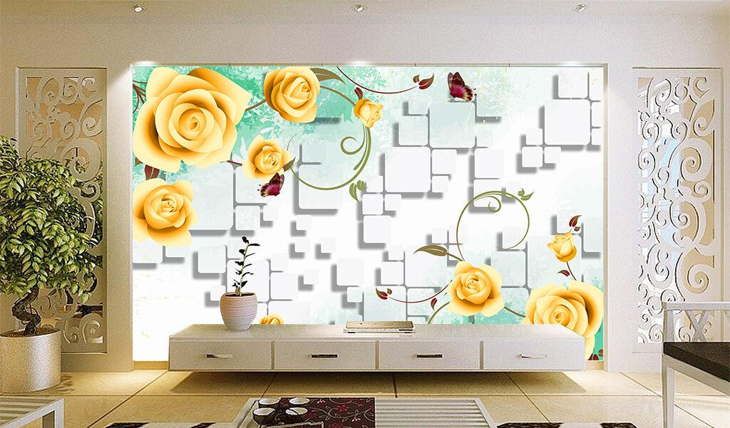 3D Golden roses 5476 Wall Paper Print Wall Decal Deco Indoor Wall Murals