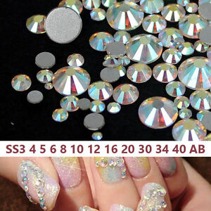 315d7942a7 Details about Wholesale Crystal AB Nail Art 1440 pcs Flatback Glass  Rhinestones SS4-SS40