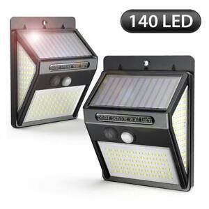 2-pezzi-Luce-Solare-140-Led-Esterno-Lampade-Sensore-Movimento-Solari-da-Parete