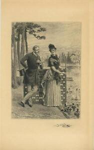 ANTIQUE VICTORIAN WOMAN FEEDING CRACKERS TO SWANS CYGNETS REMARQUE ETCHING PRINT