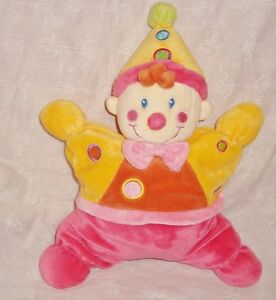 Doudou-Semi-Plat-hochet-Velours-garcon-clown-rose-jaune-Nicotoy-25x28cm-tbe
