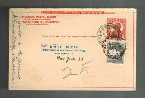 1946 Jerusalem Palestine Postcard cover Reply Card Mail from USA Emil Weil