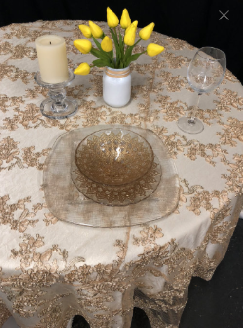 Gold Lace Tablecloth or Overlay