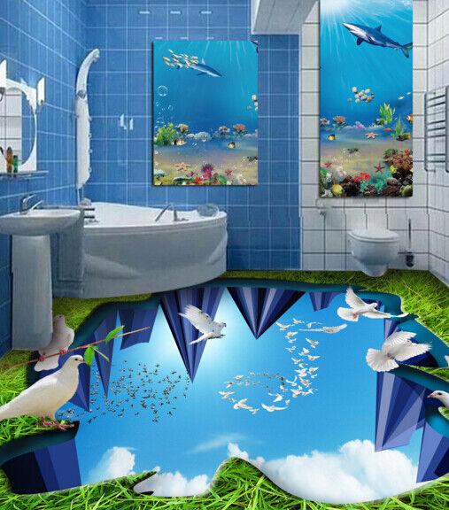 3D Grass Pigeon Sky 6 Floor WallPaper Murals Wall Print 5D AJ WALLPAPER UK Lemon