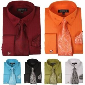 Men-039-s-High-Quality-Fashion-Dress-Shirt-With-Tie-amp-Hanky-French-Cuff-Links-6-Colors