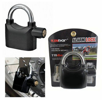 ALARMED LOCK SIREN PADLOCK MOTORBIKE ALARM LOCK BIKE SHED SECURITY