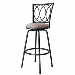 Swivel Metal Bar Stool Black Kitchen Counter Chair Padded