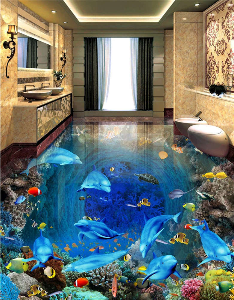 Diffused Running Lake 3D Floor Mural Photo Flooring Wallpaper Home Print Decor