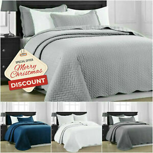 3 Piece Satin Embossed Quilted Bedspread Throw /& Pillow Shams Double King Size