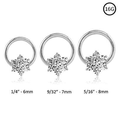 Septum Clicker 316L Surgical Steel Captive Nose Ring Hoop Flower CZ 16 Gauge 16G