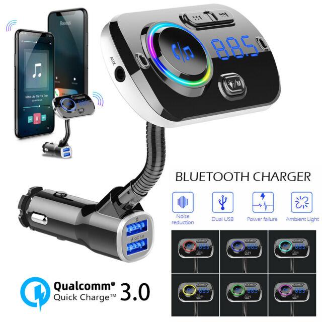 Wireless Bluetooth V5.0 Car FM Transmitter Kit MP3 Player Dual USB Charger