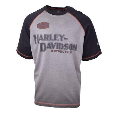 S06 Harley-Davidson Men/'s Grey /& Blue Two Tone Striped L//S Henley Tee