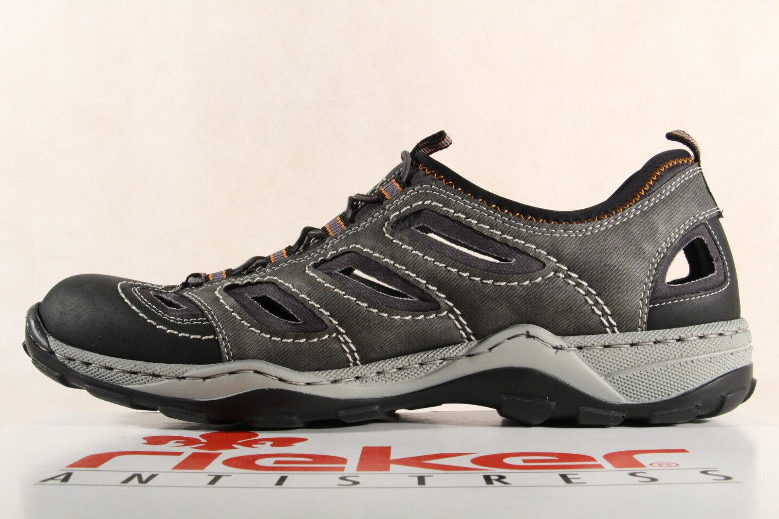 RIEKER Slipper scarpe da ginnastica scarpe morbida basse grigio in pelle morbida scarpe suola interna 08065 NUOVO 8af3de