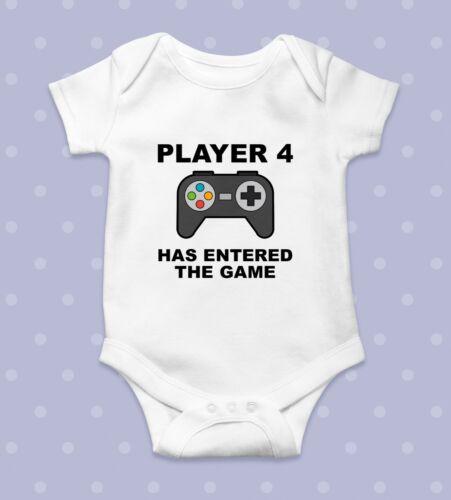 Jugador 4 ha entrado en el Juego Divertido Bebé Crecer Cuerpo Crecer Cuerpo Suit babygrow