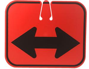 Double Arrow Sign JBC Snap-On TrafficCone Heavy Duty Plastic 13.25 Wx11 H 24 Box