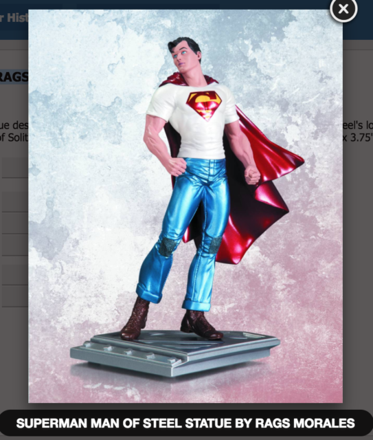 SUPERMAN THE MAN OF STEEL STATUE BY RAGS MORALES DC COMICS (FACTORY SEALED, MIB)